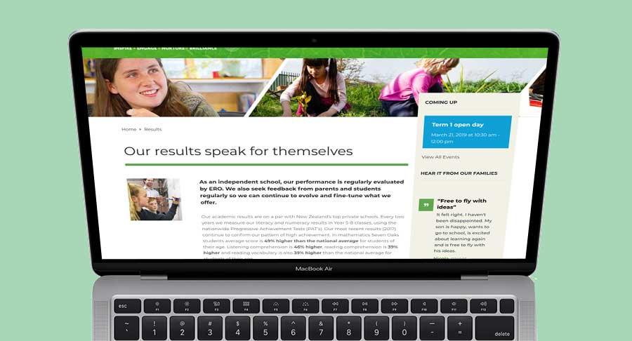 New website design for Seven Oaks School, Christchurch, New Zealand