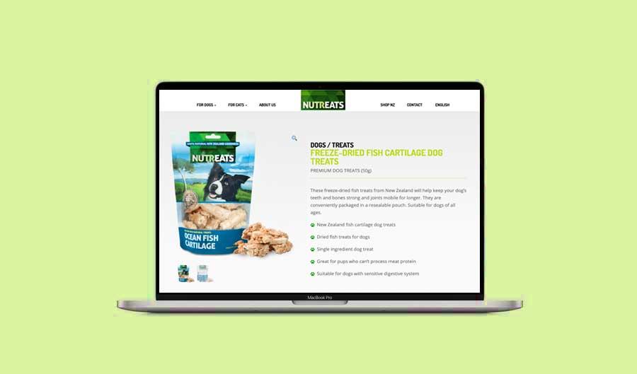 Nutreats website design and SEO