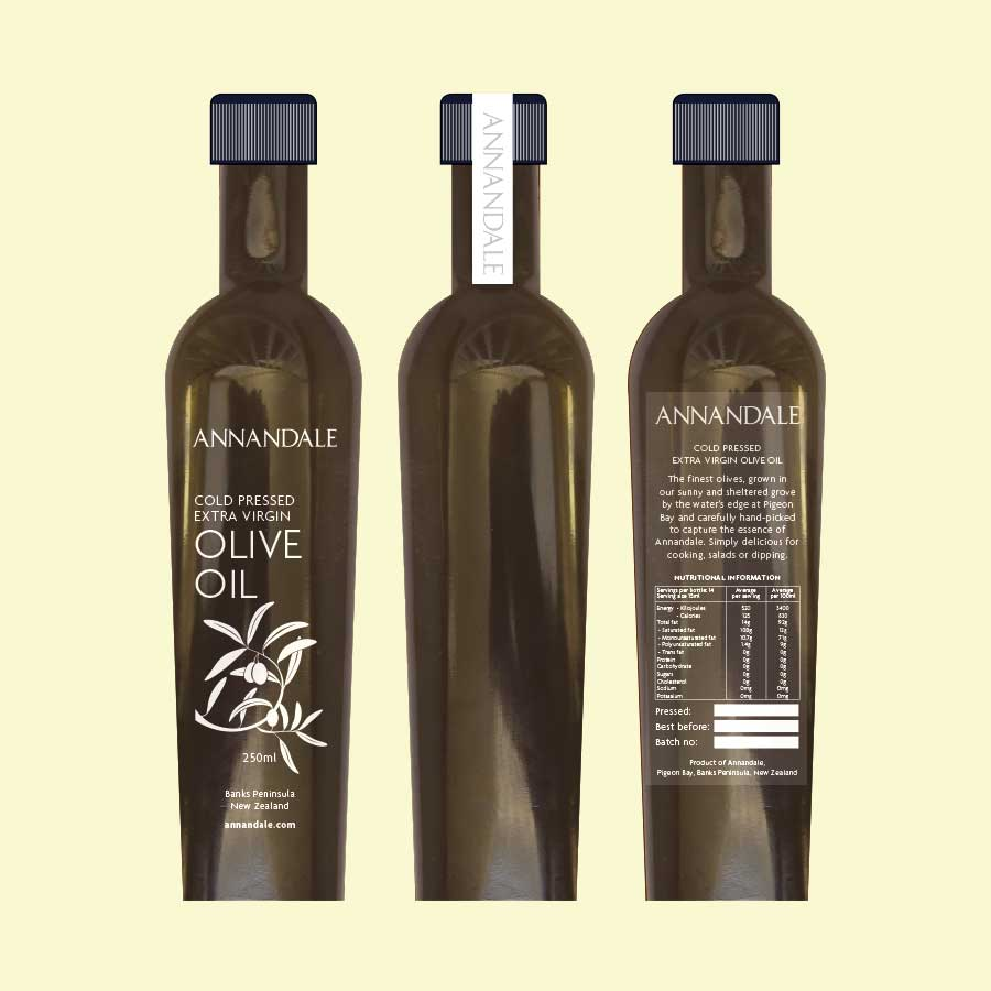 Packaging Design for Annandale Ollive Oil. Label design and packaging design.