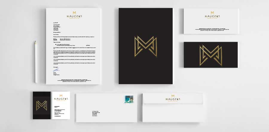 Maugers new brand stationery design