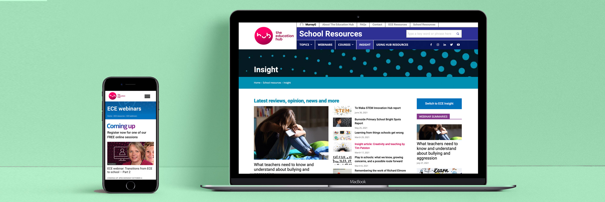 The Education Hub – website and marketing project