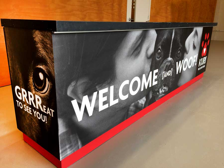 reception counter design and print