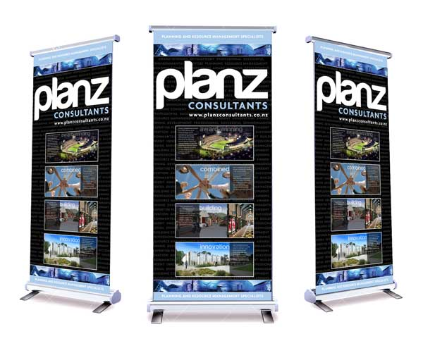 Planz popup banner design and print